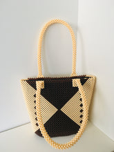 Coffee Brown and Cream Color Handcrafted Beaded Handbag.