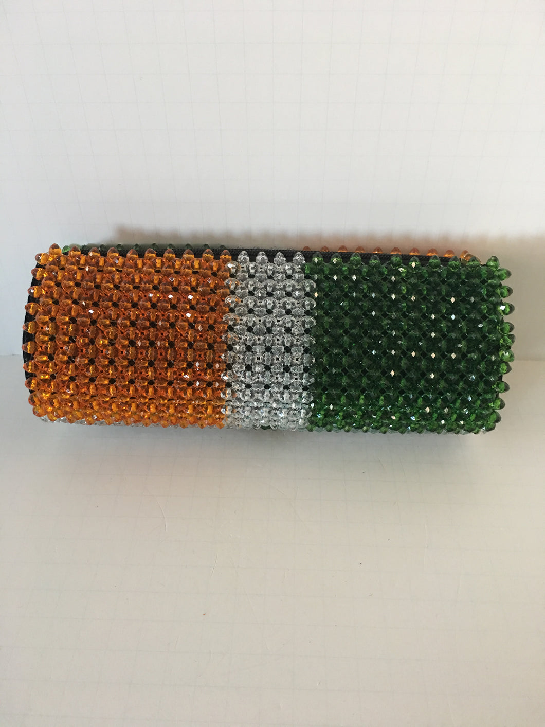 Gold, glass white and Green beaded clutch