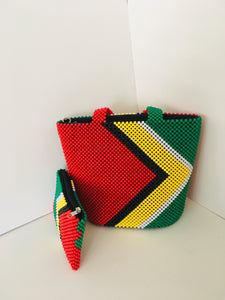 Guyana Flag Theme Hans-crafted Beaded Handbag