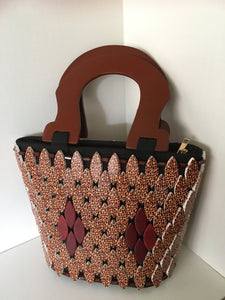 Brown and animal print beaded hand crafted bag.