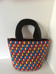 Blue, yellow and Red Wood Handcrafted bag.