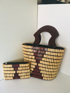 Off White and Coffee Brown Color, HandCrafted Beaded Handbag