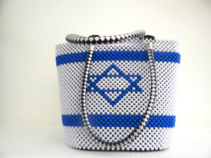 Israel Flag Beaded Handbag