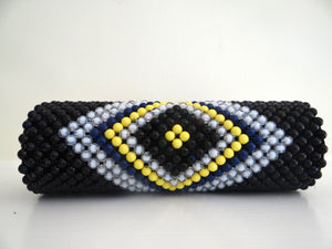 Yellow, Black, Blue and White Circular Beaded Clutches