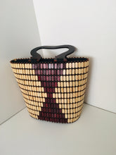 Coffee Brown with Cream Color Beaded Handbag with Wooden Handles.