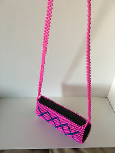Pink and Blue Color Beaded Clutch