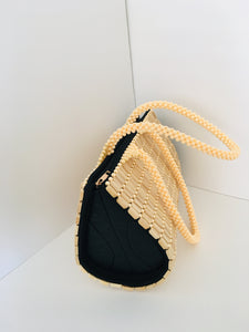 Cream Colored Beaded HandCrafted Handbag.
