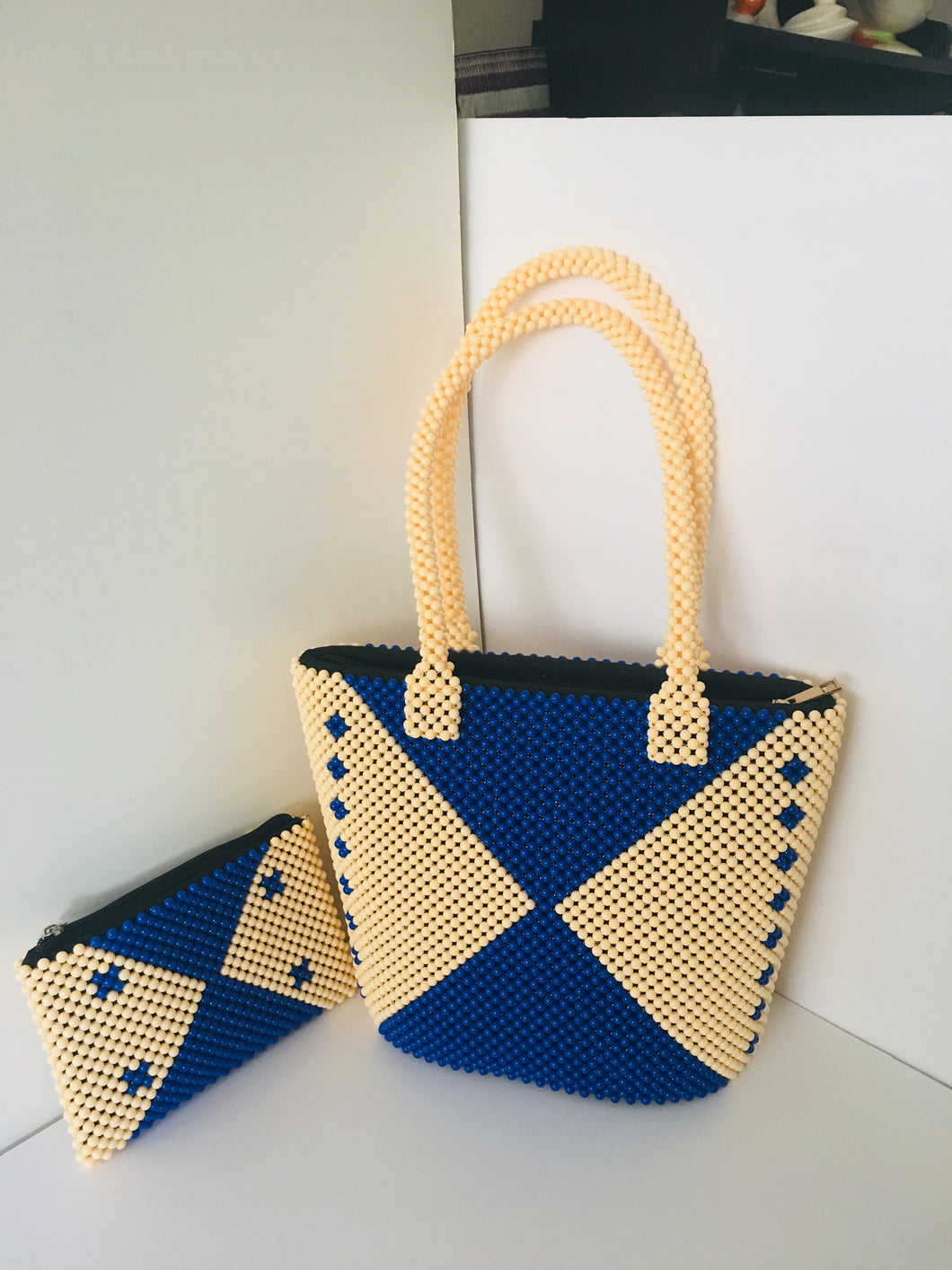 Blue and off white Color, HandCrafted Beaded Handbag