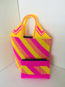 Pink and yellow Handcrafted Beaded Handbag