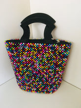 Multiple colored Handcrafted Beaded Handbag with Wooden Handles.