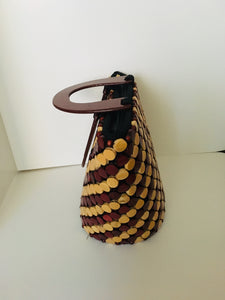 Coffee Brown with Cream Color wooden material Handcrafted Handbag.