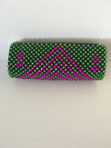 Rose Pink and Lime Green color beaded clutch