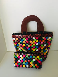 Multiple colors Round Shape Wooden Material Handcrafted Handbag