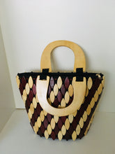 Coffee Brown and Cream Color in oval Shape wooden Material Handcrafted Handbag