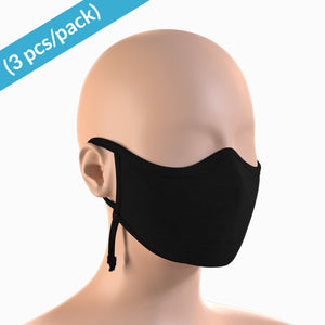 Hypoallergenic Contoured Face Mask with Adjustable Earloops ( 3/pack | Black )