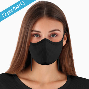 Elite Hypoallergenic Face Mask with Adjustable Earloops and Nose Bridge ( 2/pack | Black )