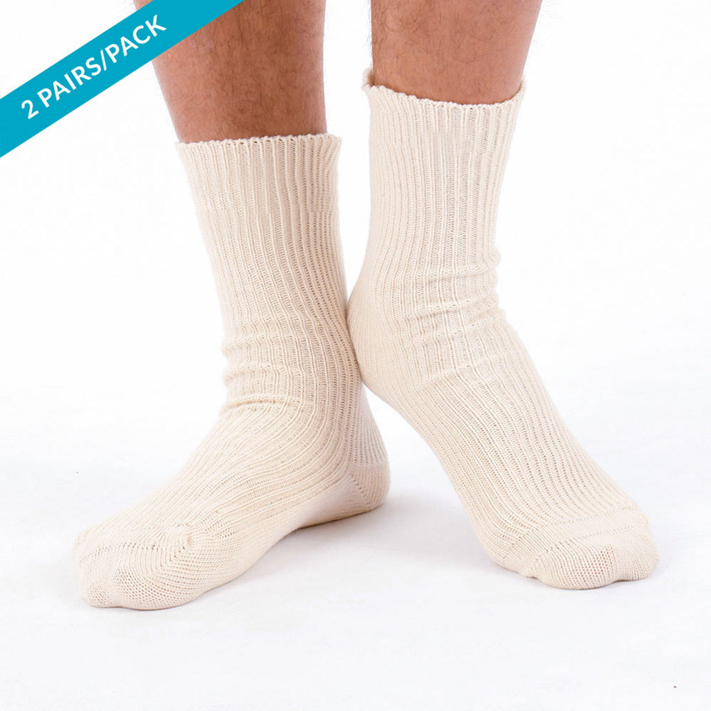 Elite Elastic-free 100% Cotton Socks (2/pack | Natural)