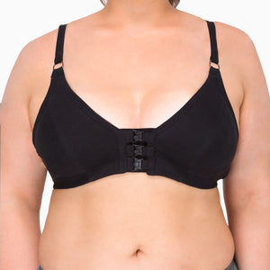 Women's Front Closure Support Bra ( Queen | Black )