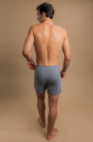 Men's Elasticized Loose Boxer Shorts (Melange Grey)