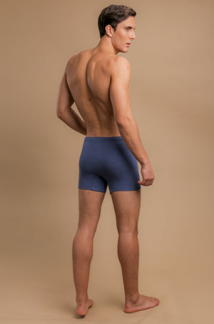 Men's Rib Drawstring Boxer Brief with Fly (Melange Blue)