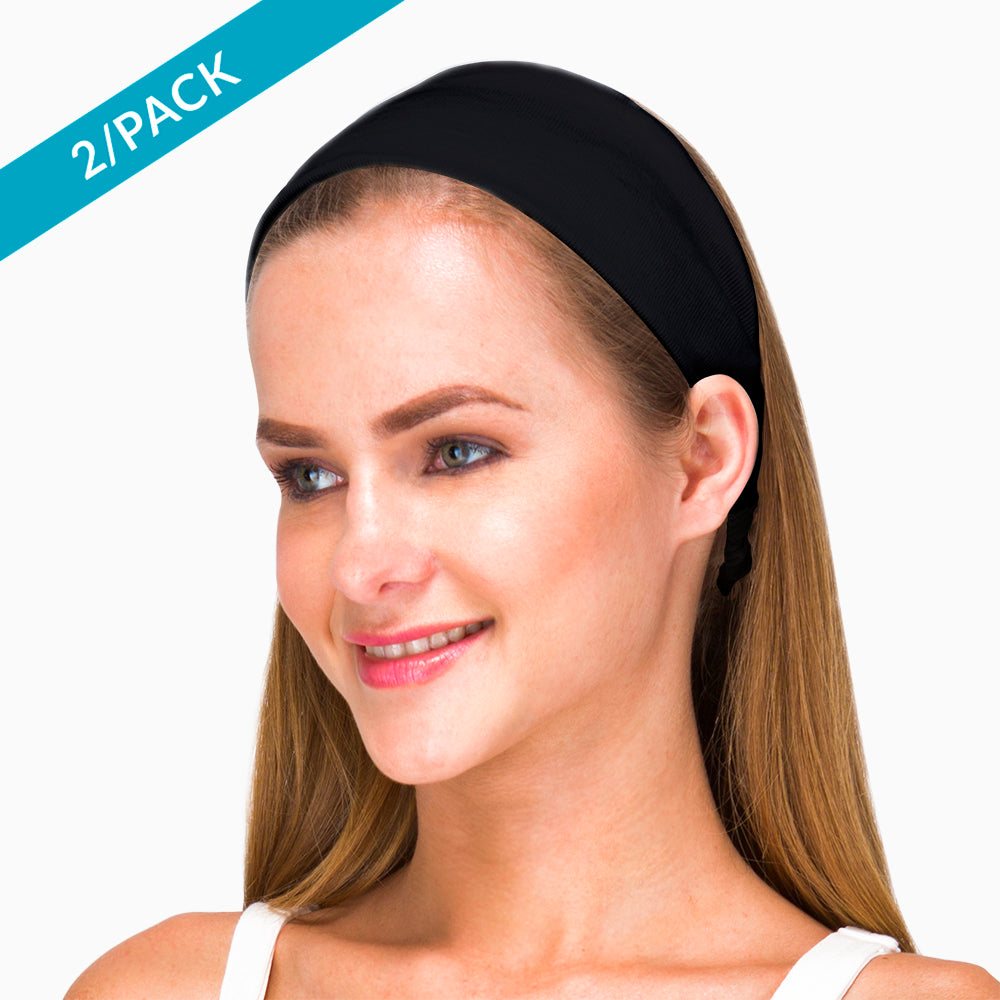 Cotton Headband Elasticized- 100% Organic Cotton  ( 2/pack | Black )