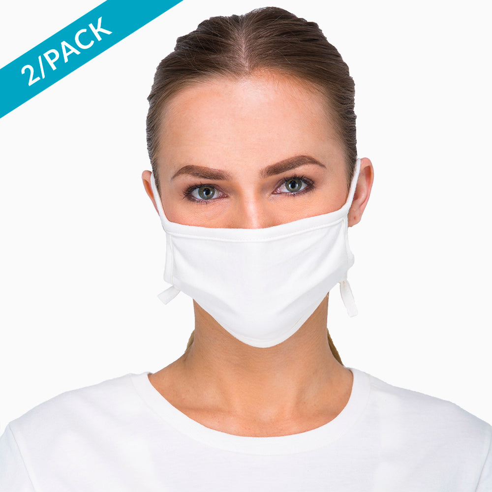 Women's Hypoallergenic Face Mask with Adjustable Earloops ( 2/pack | Natural )