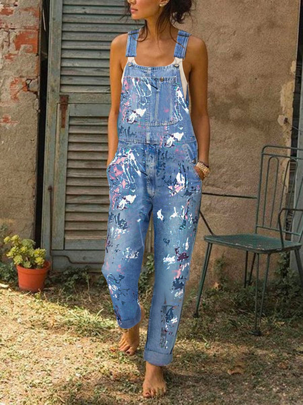 Ärmellos Denim Jumpsuit