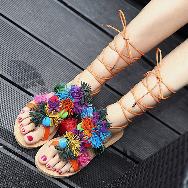 Flache Sohle Lace-Up Sommer Pu Shoes