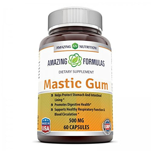 Amazing Formulas Mastic Gum 500 Mg 60 Capsules - Supports Gastrointestinal Health, Digestive Function, Immune Function and Oral Health - An All-natural remedy for Occasional Heartburn and Stomach