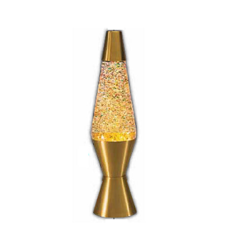 14.5-Inch Gold Base Lamp with Rainbow Glitter Wax in Clear Liquid