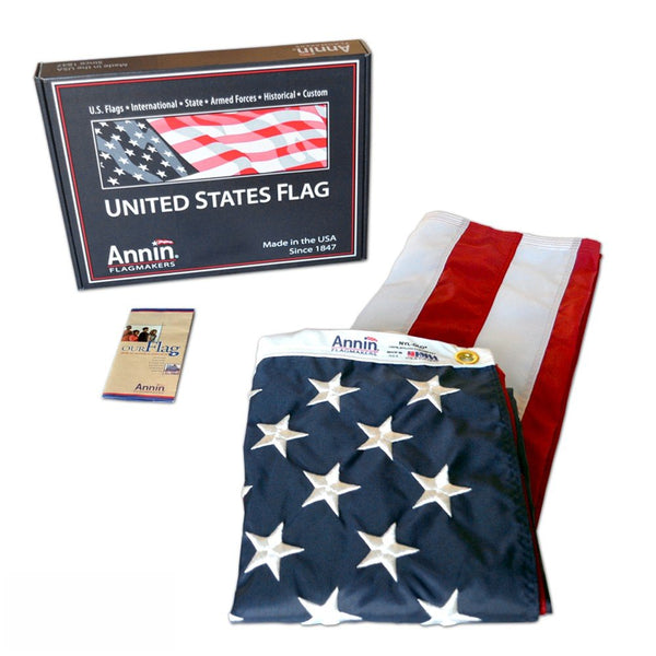 Annin Flagmakers Model 2460 American Flag 3x5 ft. Nylon SolarGuard Nyl-Glo , 100% Made in USA with Sewn Stripes, Embroidered Stars and Brass Grommets. 3 by 5 Foot