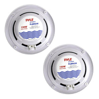6.5 Inch Dual Marine Speakers - 2 Way Waterproof and Weather Resistant Outdoor Audio Stereo Sound System with 150 Watt Power, Polypropylene Cone and Cloth Surround - 1 Pair - PLMR60W (White) White 150 watts