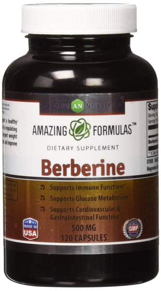 Amazing Formulas Berberine 500mg 120 capsules - Supports Immune Function, Glucose Metabolism and Cardiovascular & Gastrointestinal Function Pack of 1 - 120