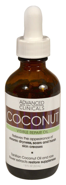 Advanced Clinicals Coconut Oil for Skin. Repair Coconut Oil for Face, Body and Hair. For Chronic Dryness, Scars, Stretch Marks and Harsh Skin Creases. 1.8 Fl Oz. 1.75oz