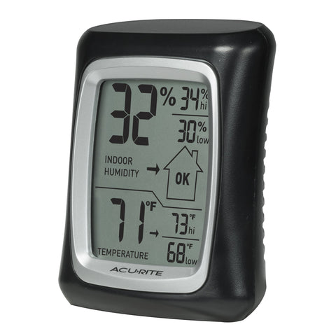 AcuRite 00325 Indoor Thermometer with Digital Hygrometer and Humidity Gauge Black