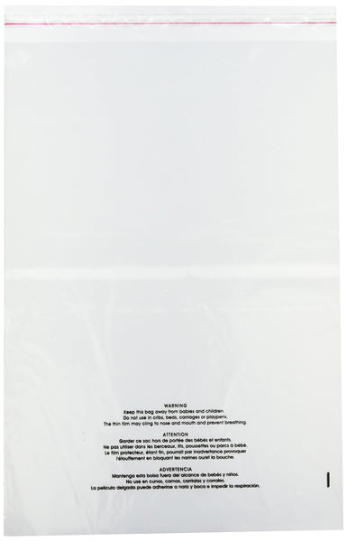 "Uline 14"" x 20"" Self Seal Poly Bags with Suffocation Warning, Easy Peel and Stick Clear, 1.5 mil (S-19132) 100 count"