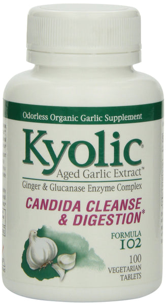 Kyolic Aged Garlic Extract Plus Enzyme Candida Cleanse & Digestion Formula 102 (100 Tablets) Odorless Organic Garlic Supplement with Enzymes, Soy- Gluten-Free, Gentle on the Gut Pills Single Pack