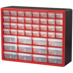 Akro-Mils 10144REDBLK 44-Drawer Hardware & Craft Plastic Cabinet, Red & Black, Red/Black