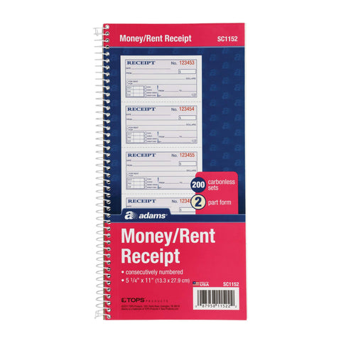 Adams Money and Rent Receipt Book, 2-Part Carbonless, 5 1/4 x 11 Inch Detached, Spiral Bound, 200 Sets per Book (SC1152) 5 1/4 In X 2 3/4 In