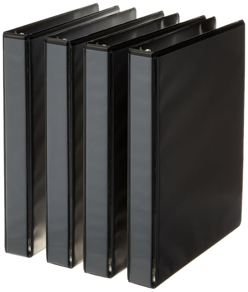 AmazonBasics 3-Ring Binder, 1 Inch - 4-Pack (Black) Black 1-Inch