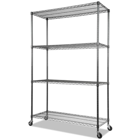 Alera ALESW604818BA Complete Wire Shelving Unit w/Caster, Four-Shelf, 48 x 18 x 72, Black Anthracite