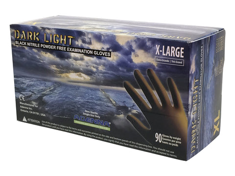 Adenna DLG678 Dark Light 9 mil Nitrile Powder Free Exam Gloves (Black, X-Large) Box of 90