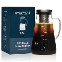 Airtight Cold Brew Iced Coffee Maker and Tea Infuser with Spout - 1.0L / 34oz Ovalware RJ3 Brewing Glass Carafe with Removable Stainless Steel Filter 1.0 Liter