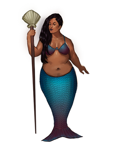 Selena Plus Size POC Mermaid Holds Spear