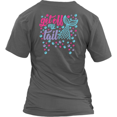 Get Off My Tail, Women's Fit Premium V-Neck: Design on Back