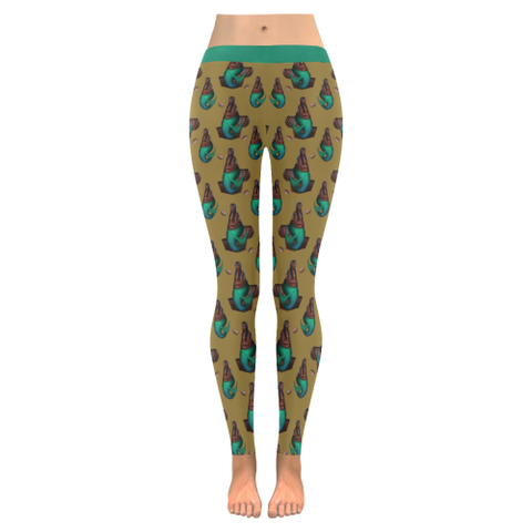 Queen Legging Gold Low Rise Leggings (Invisible Stitch) (Model L05)