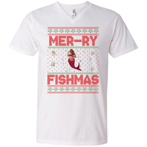 Mermaid Ugly Christmas Sweater- Glory Premium Unisex V-Neck