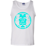White Unisex Tank Top Featuring Society of Fat Mermaids Blue Logo- Two Fat Mermaids Facing Each Other