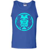 Blue Unisex Tank Top Featuring Society of Fat Mermaids Blue Logo- Two Fat Mermaids Facing Each Other