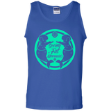 Blue Unisex Tank Top Featuring Society of Fat Mermaids Green Logo- Two Fat Mermaids Facing Each Other